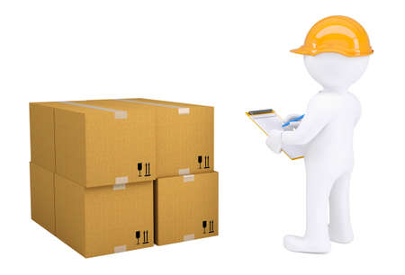 warehouse equipment: 3d human in a helmet with notepad next to cardboard boxes  Isolated on white background