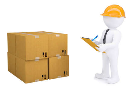 3d human in a helmet with notepad next to cardboard boxes  Isolated on white background