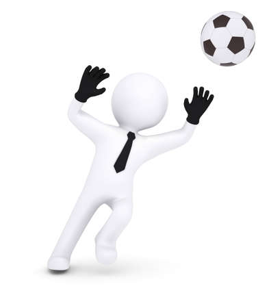 3d human with gloves goalkeeper catches a football  Isolated on white background photo
