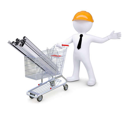White human in a helmet standing beside carts with products made   of metal  Isolated render on a white background photo