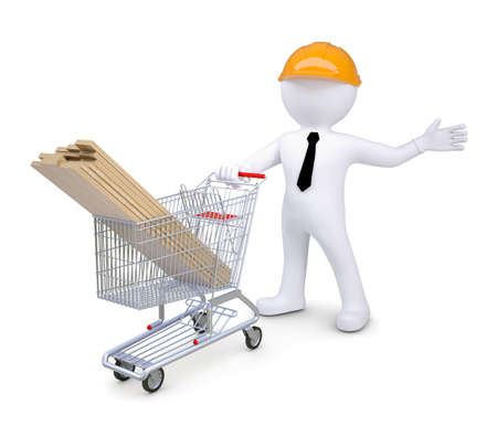 woodwork: White human in a hard hat standing near the cart woodwork  Isolated render on a white background