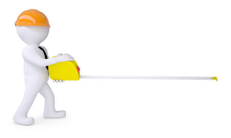 measure: White human in a helmet holding a tape measure  Isolated render on a white background