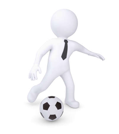 White human plays football  Isolated render on a white background photo