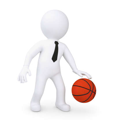 tourney: White human playing basketball  Isolated render on a white background Stock Photo