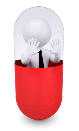 alarmed: White human is inside a pill  Isolated render on a white background