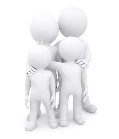 puppet woman: Familia de cuatro hombres blancos aislados hacen en un fondo blanco