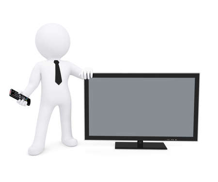 remote view: White human standing near the TV and keeps the remote in his hand  Isolated render on a white background