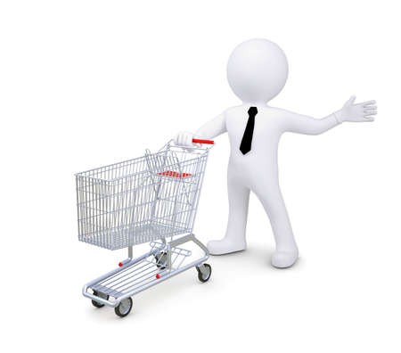 troley: White human standing near a supermarket trolleys  Indicates a hand to the side  Isolated render on a white background Stock Photo