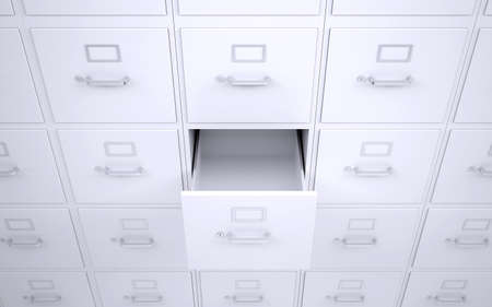 filing system: Office bookcase with drawers  One box is open  3d rendering Stock Photo