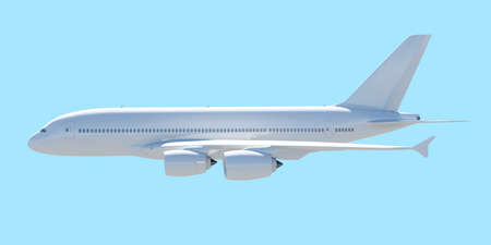 White passenger plane. A side view. Isolated render on a blue background photo