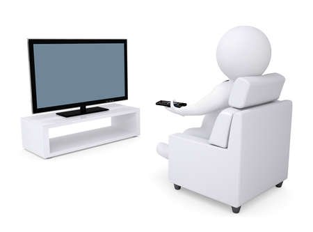 tv remote: 3d white human sitting in a chair and watching TV  Isolated render on a white background