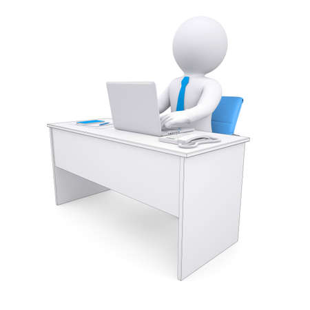 3d white human sitting at a table  Working at a laptop  Isolated render on a white background photo