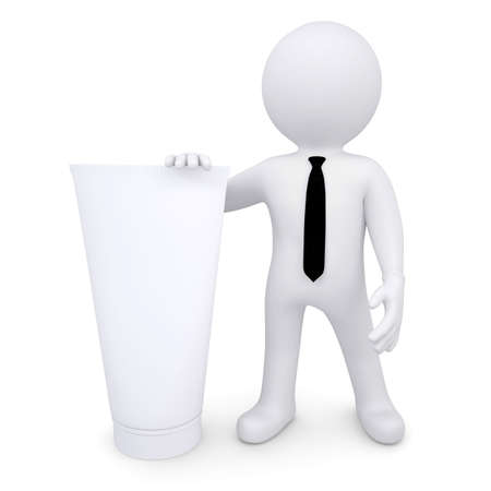 3d white human next to a white cosmetic tube  Isolated render on a white background Stock Photo - 16771200