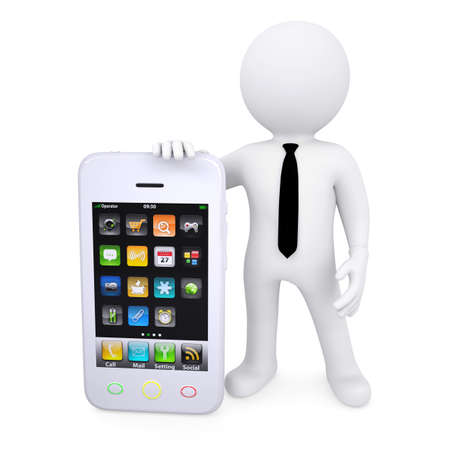 3d white man next to the smartphone  Isolated render on a white background photo