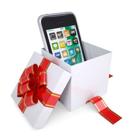 Smartphone in the gift box with red ribbons. Isolated render on a white background photo