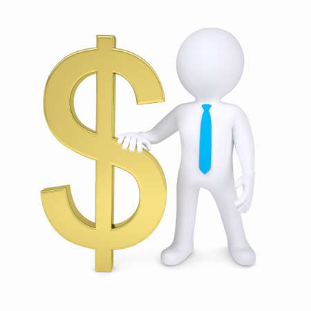 3d white man and a gold dollar sign  Isolated render on a white background Stock Photo - 16904881