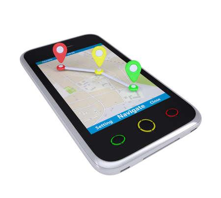 gps navigation: Smartphone con un mapa marcado con los puntos de ruta Aislados representar en un fondo blanco