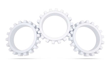 synchronized: Three white gears  Isolated render on a white background