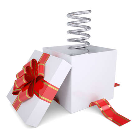 metal spring: Metal spring from an open gift  Isolated render on a white background