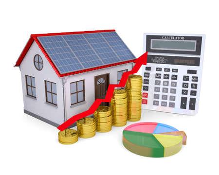 ahorro energia: Casa con paneles solares, calculadora, calendario, y hacer las monedas aisladas sobre un fondo blanco