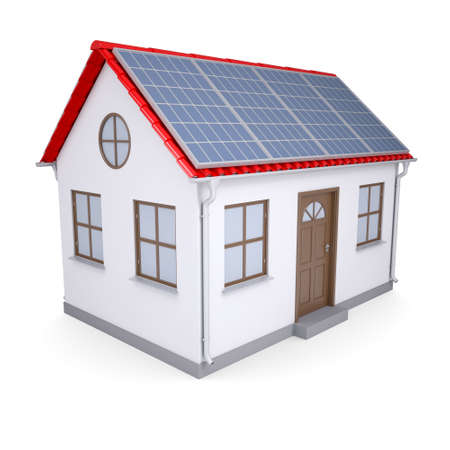 House with solar panels  Isolated render on a white background photo