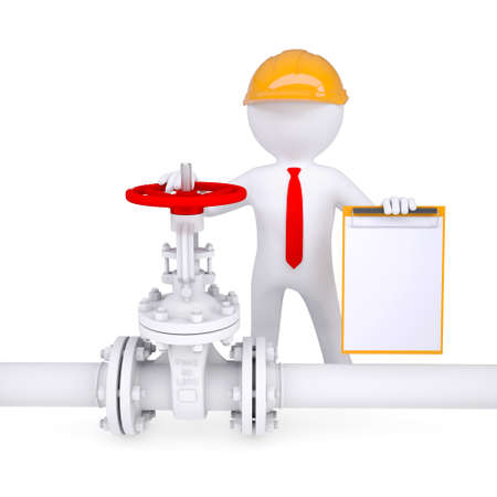 gas man: 3d man with a clipboard next to the valve on the pipeline  Isolated render on a white background