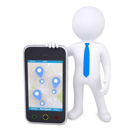 3d man and a smartphone with a map and marks  Isolated render on a white background photo