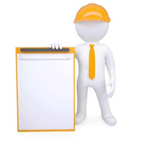 3d man in a helmet holding a clipboard  Isolated render on a white background photo