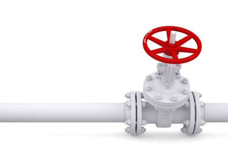 gas supply: Valve on the pipeline  Isolated render on a white background Stock Photo