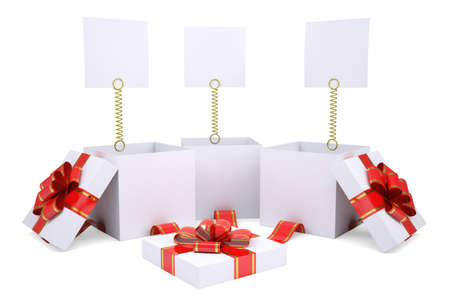 Open gift boxes with white labels  Isolated render on a white background photo