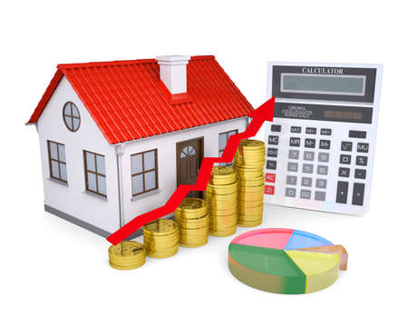 The growth in property prices  Isolated render on a white background photo