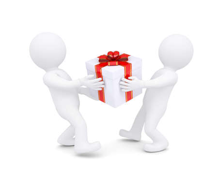 Two white man holding a box with a gift  Isolated render on a white background Stock Photo - 17002800