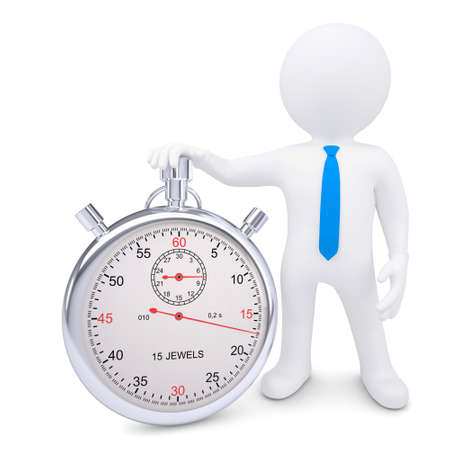 The white man and the metal stopwatch  Isolated render on a white background photo
