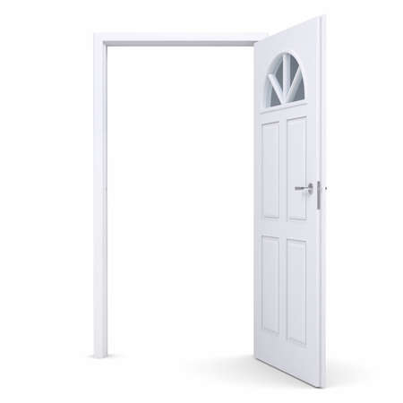 White open door. Isolated render on a white background photo