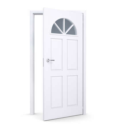 windows and doors: White open door. Isolated render on a white background