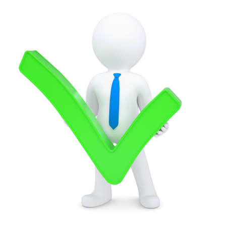 valid: White 3d man with a green tick. Isolated render on a white background Stock Photo