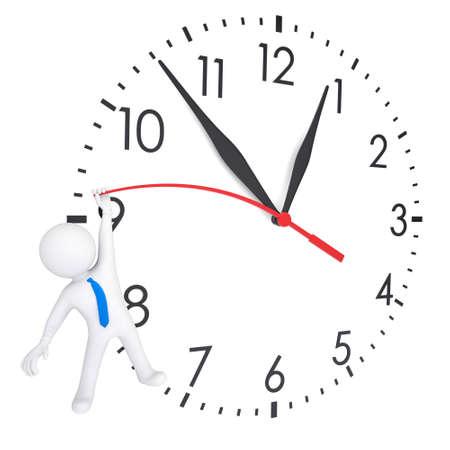 relógio: Branco 3d homem pendurado em relógios em segunda mão. Isolado renderização em um fundo branco