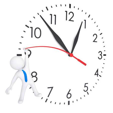 schedules: White 3d man hanging on second hand watches. Isolated render on a white background