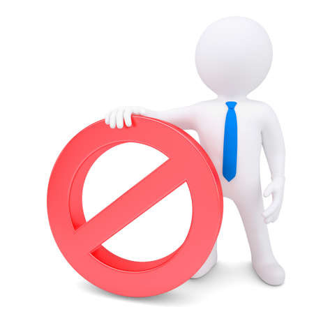 White 3d man with red prohibitory sign. Isolated render on a white background photo