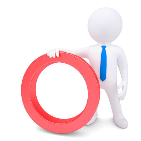 attention grabbing: White 3d man with a red circular frame. Isolated render on a white background