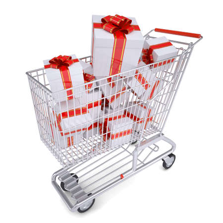 Cart with gifts  Isolated render on a white background photo