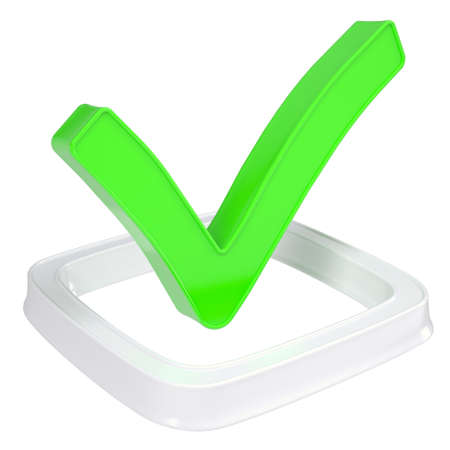 valid: The green check mark in the checkbox  Isolated render on a white background