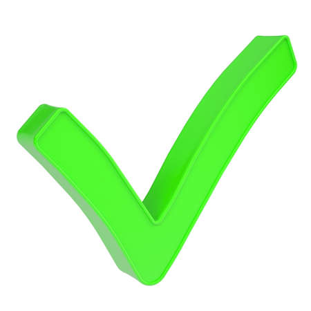 validated: Green checkmark  Isolated render on a white background Stock Photo