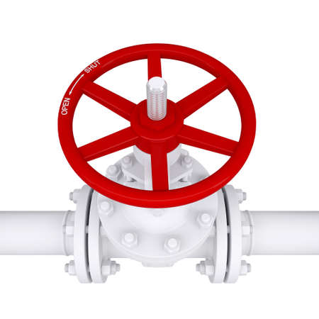 Valve on the pipeline  Isolated render on a white background Stock Photo - 17031907