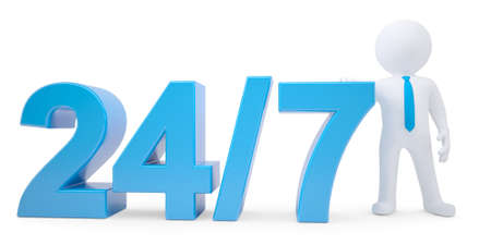 around the clock: Blue text and white 3d man. Around the clock seven days a week. Isolated render on a white background