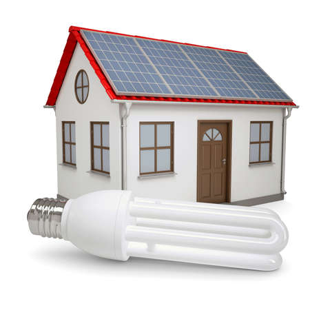 electricity pole: Energy saving lamp on the background of the house with solar panels  Isolated render on a white background