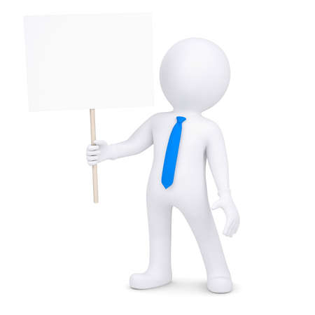 3d man holding a poster  Isolated render on a white background Stock Photo - 17188113