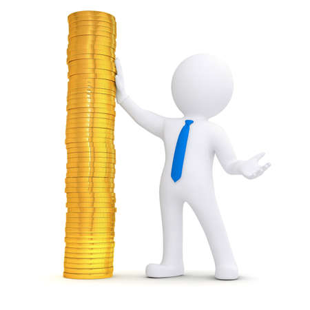 3d white man next to a pile of gold coins  Isolated render on a white background Stock Photo - 17188045