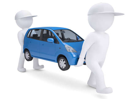 Two white 3d man bear a blue car  Isolated render on a white background Stock Photo - 17188052