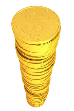 Pile of gold coins. Isolated render on a white background photo